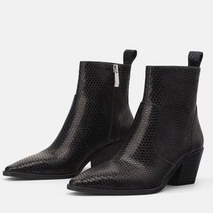 ZARA | Animal Print Cowboy Heeled Ankle Boots